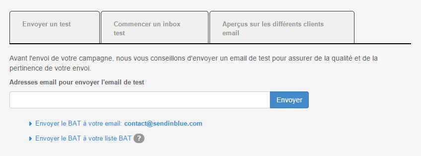Envoi d'un email BAT (test) sur Sendinblue