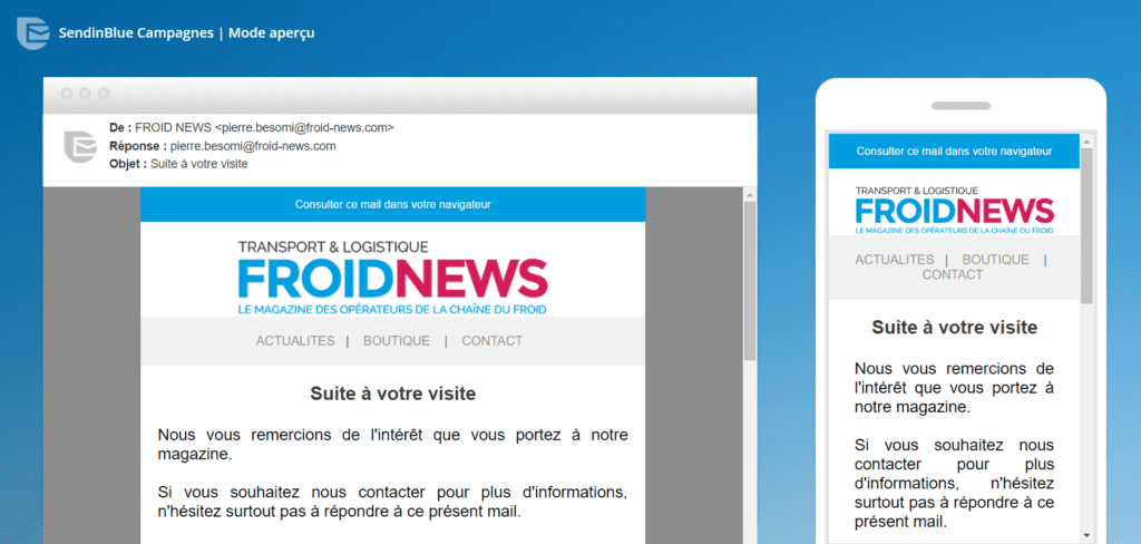 template email froid news
