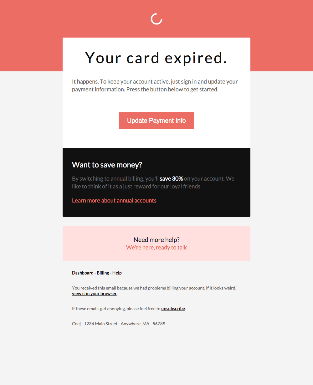 template email carte bleue expirée