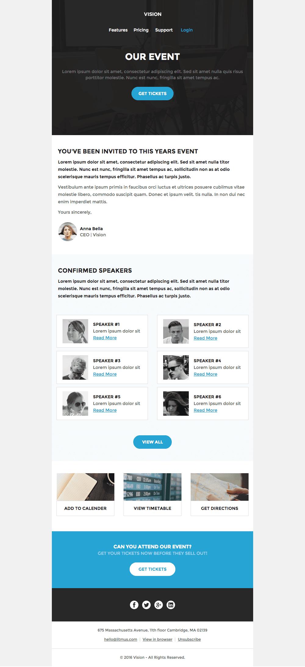 template email évènement