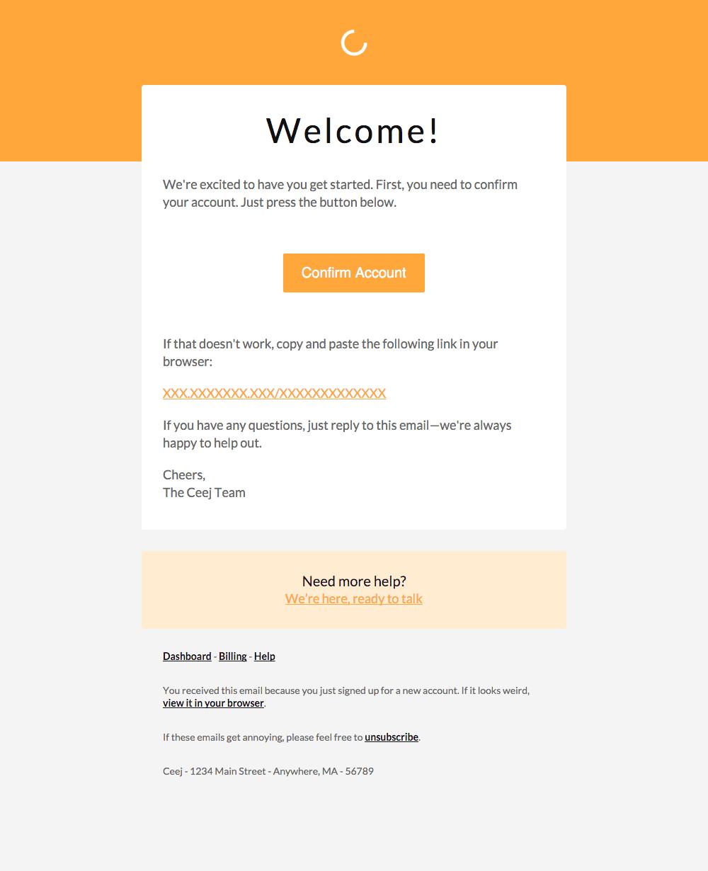 template email de bienvenue