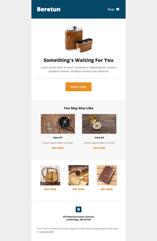 template email panier abandonné