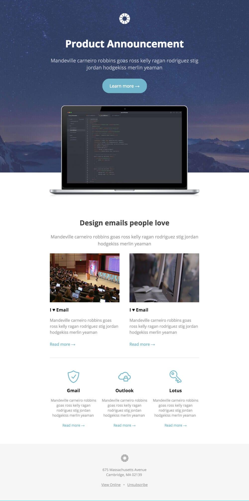 templates email annonce de nouveau produit