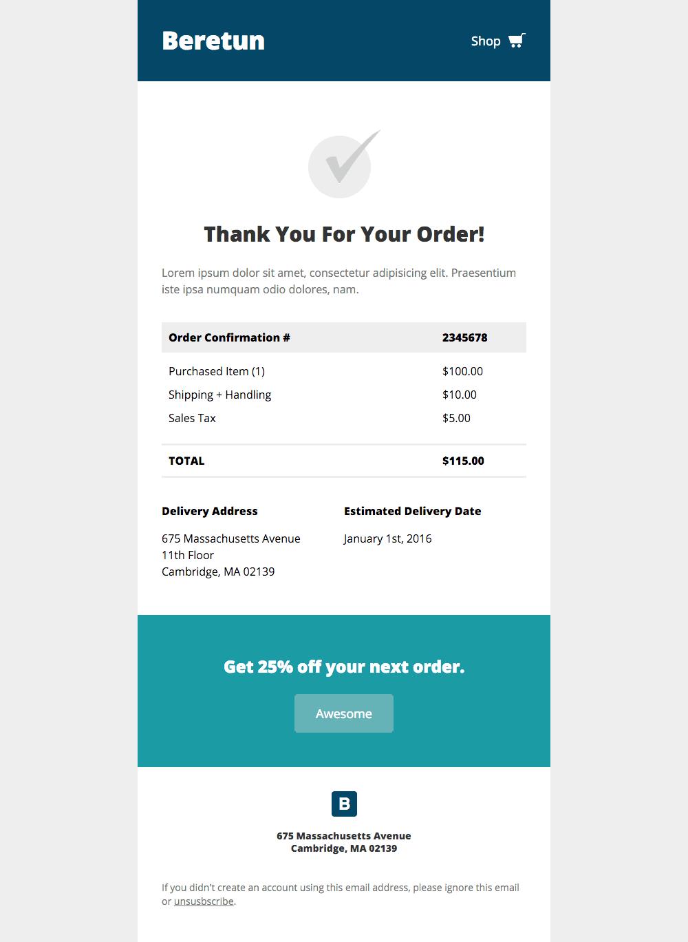 template email reçu de paiement