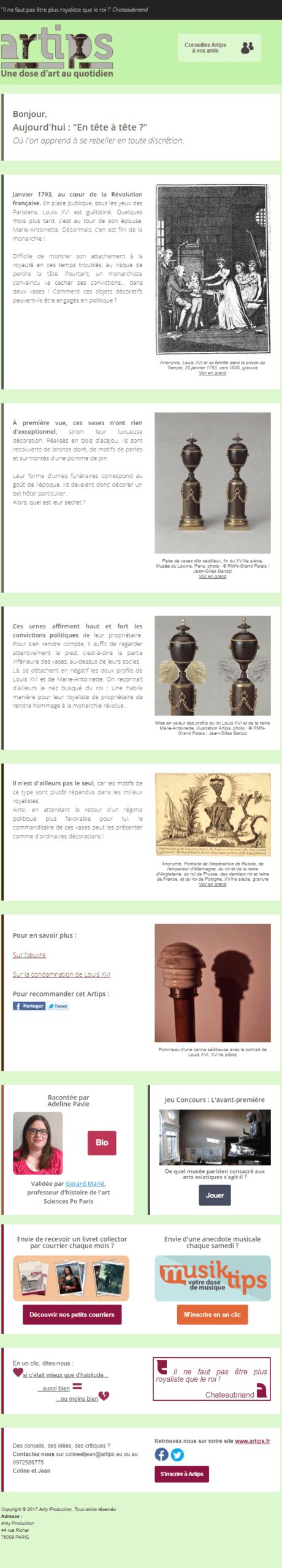 Exemple de newsletter #17 : Artips