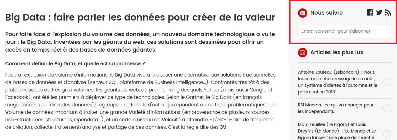Formulaire d'inscription à la newsletter Journal Du Net