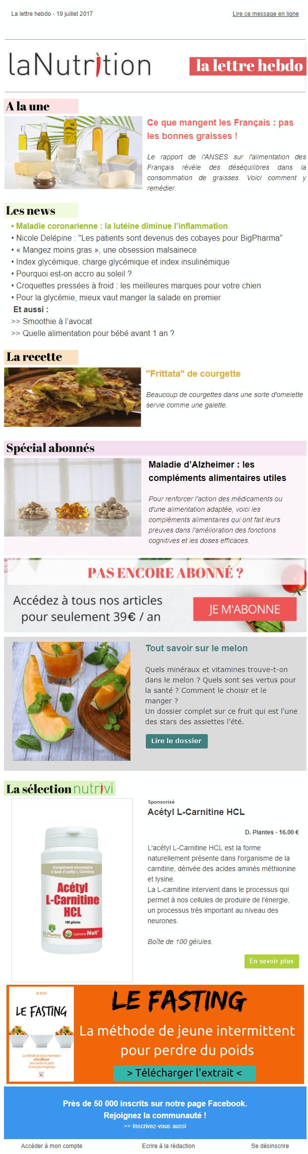 Exemple de newsletter #14 : La Nutrition