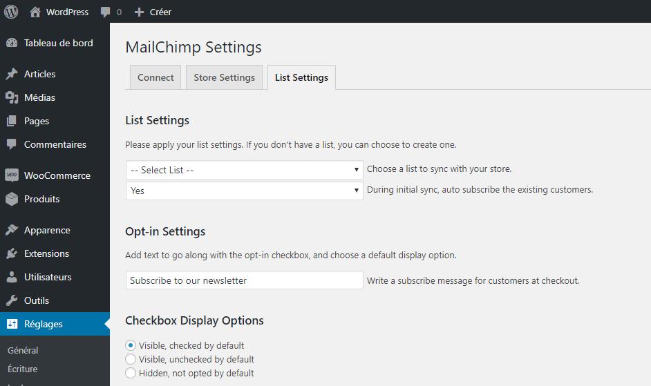 Ecran du plugin de MailChimp pour créer une option d'inscription à la newsletter au moment du paiement