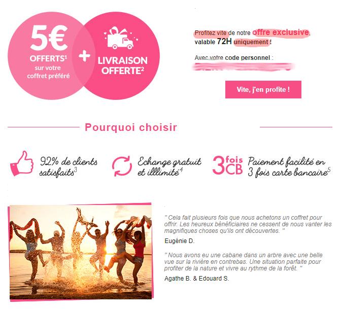 Suite de l'email promotionnel passé en spam