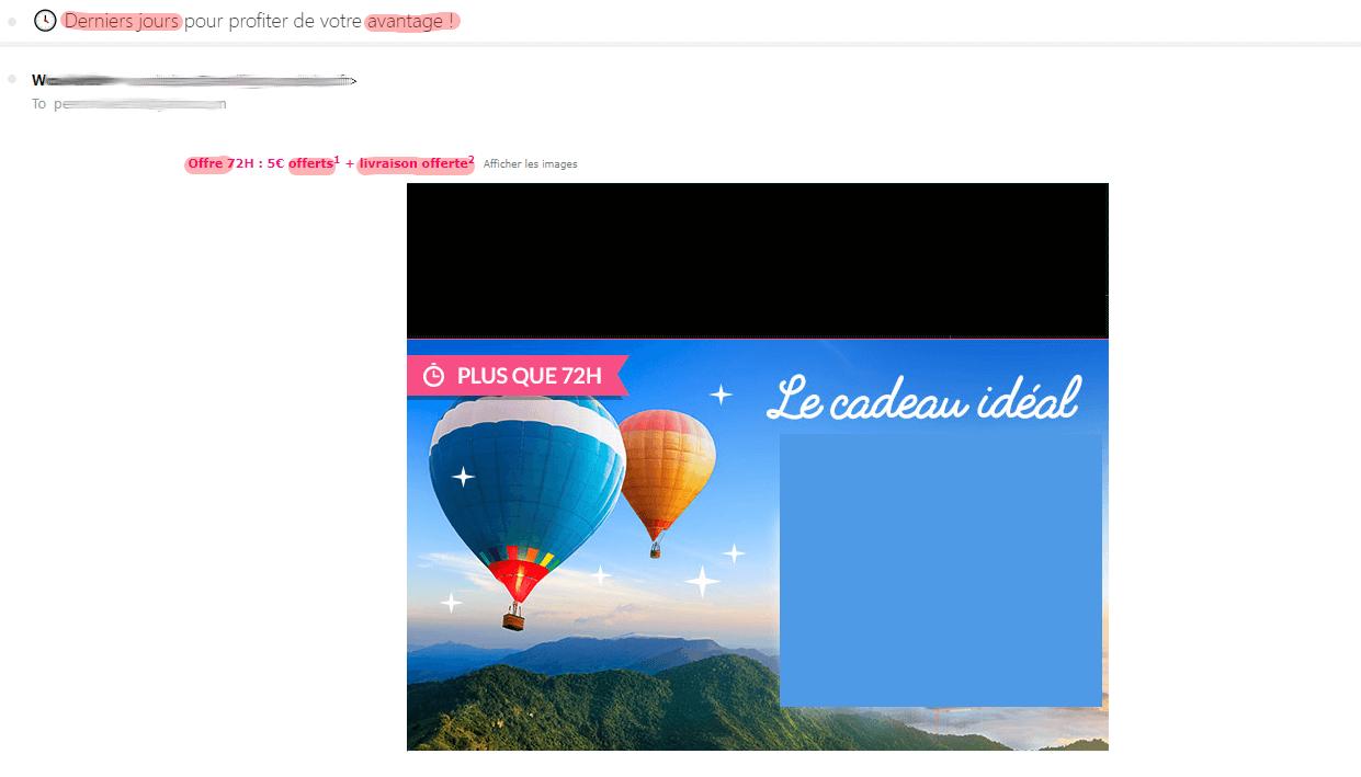 Un email promotionnel passé en spam