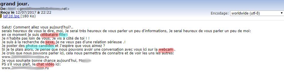 Un spam passé en boite de réception principale