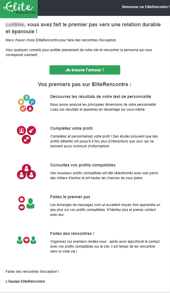 Emails et newsletters de sites de rencontres : email d'onboarding d'elite rencontre