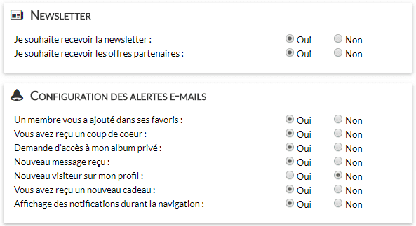 Emails et newsletters de sites de rencontres : notifications de gleeden