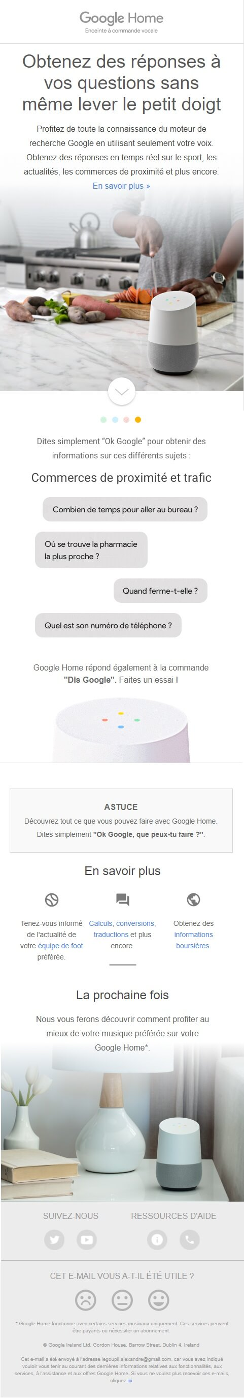 Exemple d'emailing #5 : Google Home