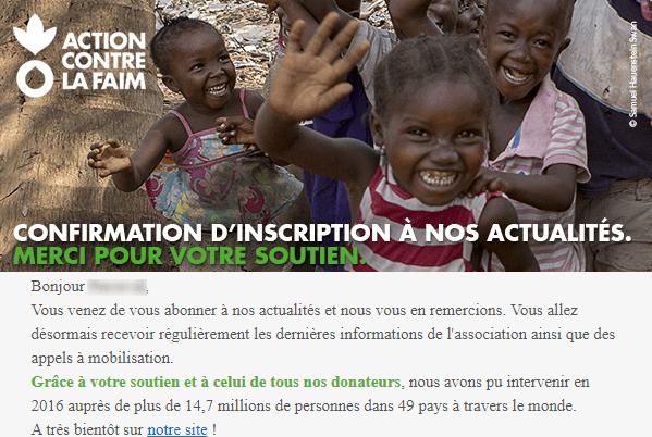 Newsletter association : l'exemple d'Action contre la Faim
