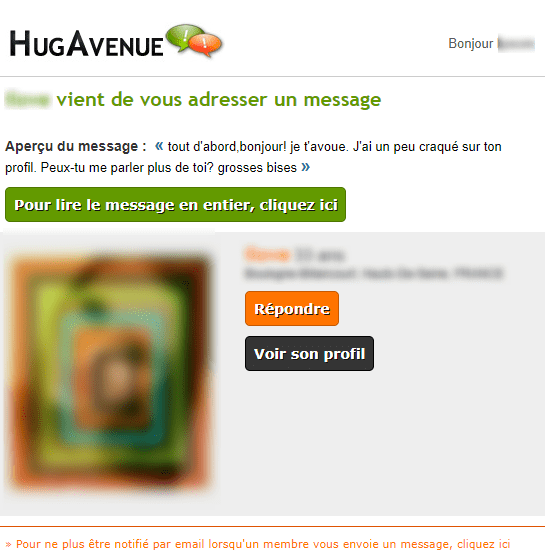 Emails et newsletters de sites de rencontres : email de notification de hug avenue