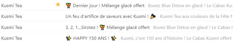 Emoji emailing : illustration d'utilisation par Kusmi Tea
