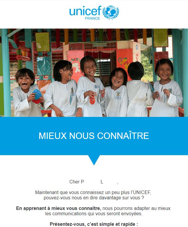 Newsletter association : l'exemple de l'UNICEF