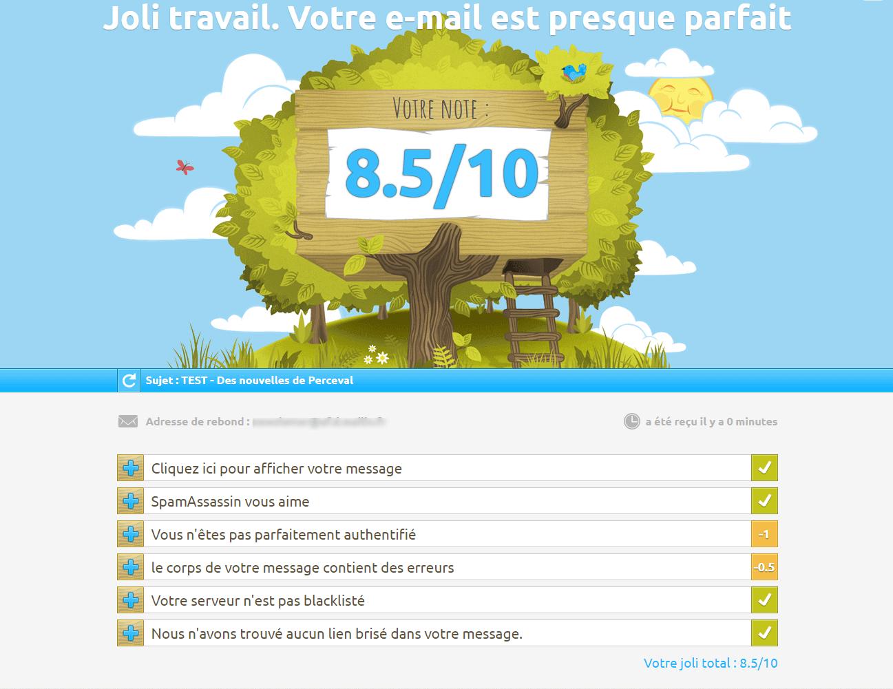 Le spam score sur mail-tester