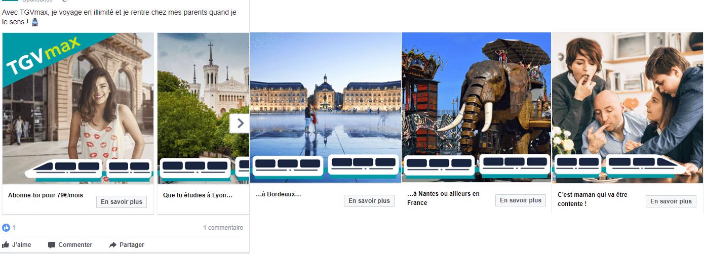Exemple de publicité facebook #3 : SNCF