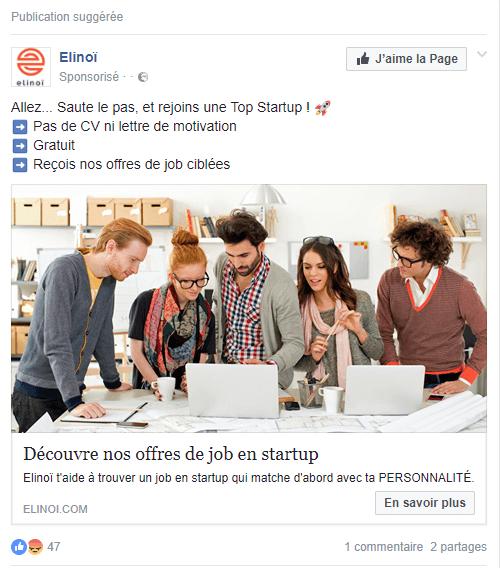 Exemple de publicité facebook #1 : Elinoï