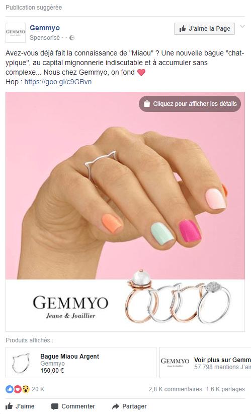 Exemple de publicité facebook #4 : Gemmyo