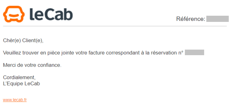 Email de facturation Lecab.com