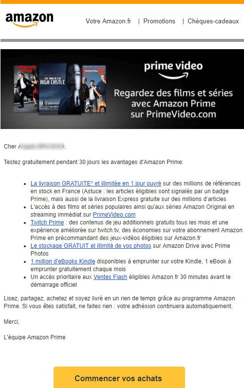 Email marketing e-commerce d'Amazon Prime : email de bienvenue