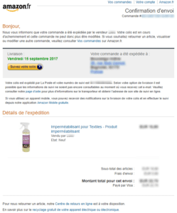 Email marketing e-commerce d'Amazon : email de confirmation de commande