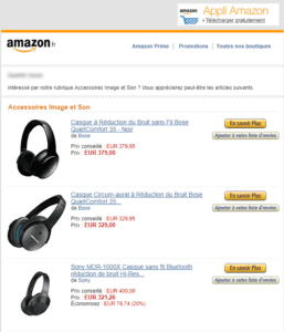 Email marketing e-commerce d'Amazon : email promotionnel