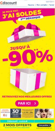 Email marketing e-commerce de Cdiscount : email promotionnel