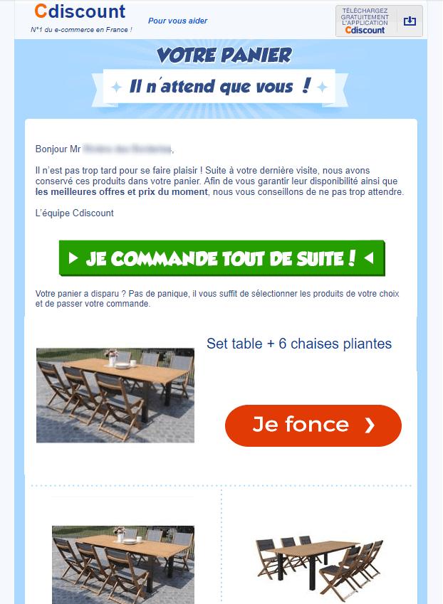 Email marketing e-commerce de Cdiscount : email de relance de panier abandonné