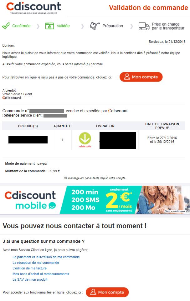 Email de confirmation de commande Cdiscount.com
