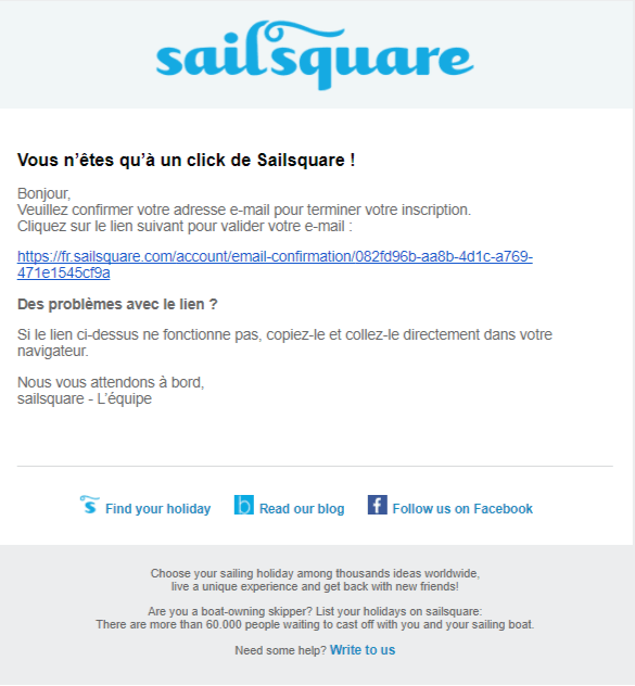 Email de confirmation d'inscription sur sailsquare.com