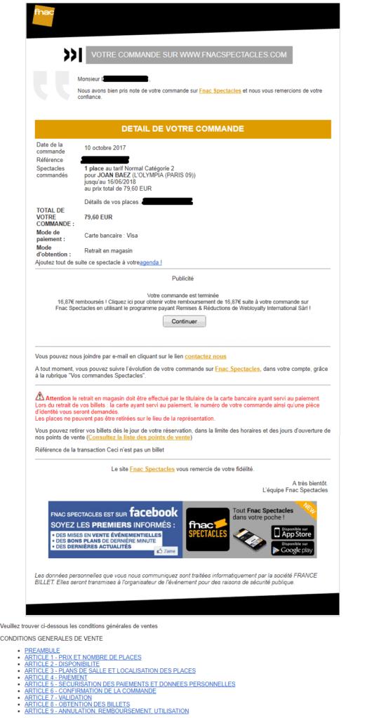 Email marketing e-commerce de la Fnac : email de confirmation de commande