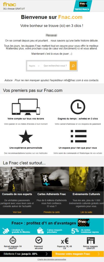 Email marketing e-commerce de la Fnac : email de bienvenue