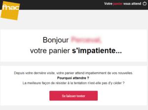 Email marketing e-commerce de la Fnac : série d'email de relance de panier abandonné