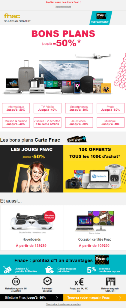 Email marketing e-commerce de la Fnac : email promotionnel