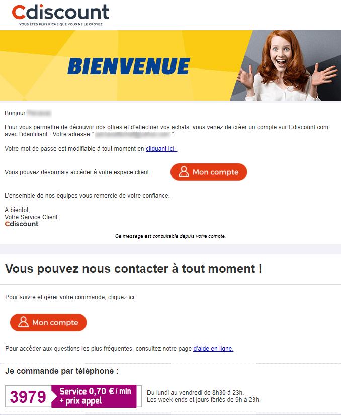 Email marketing e-commerce de Cdiscount : email de bienvenue