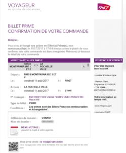 Email marketing e-commerce de voyages-SNCF : email de confirmation de commande premium