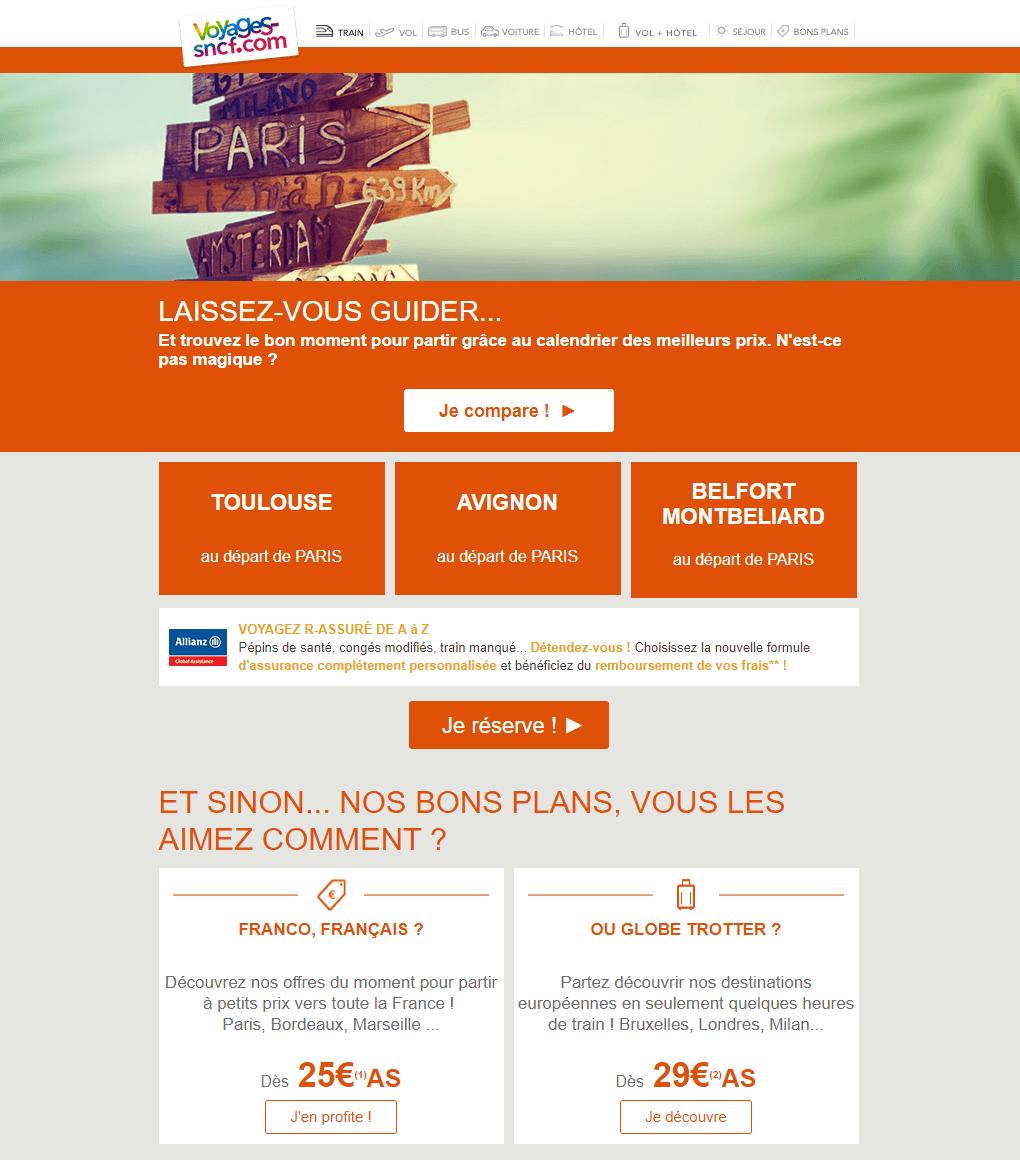 Email marketing e-commerce de Voyages-SNCF : email promotionnel