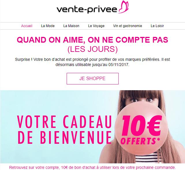 Email marketing e-commerce de vente-privée : série d'email de bienvenue