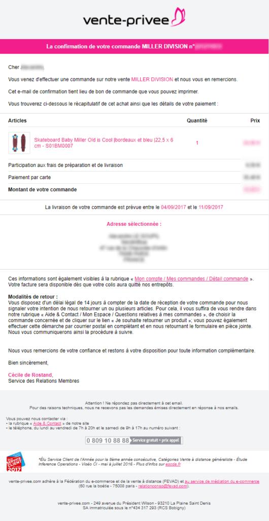 Email marketing e-commerce de vente-privée : email de confirmation de commande