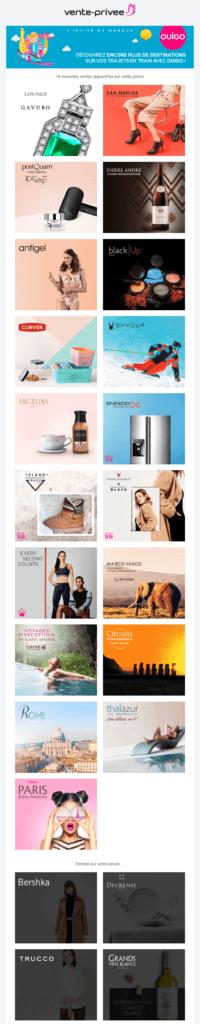 Email marketing e-commerce de vente-privée : email promotionnel