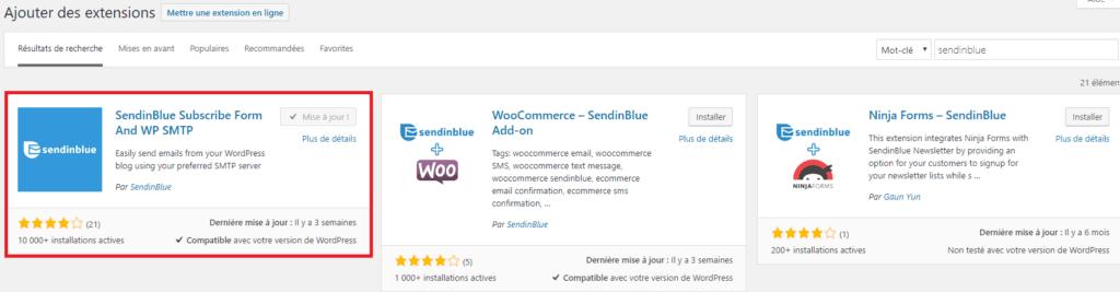 Ajouter l'extension Sendinblue sur WordPress