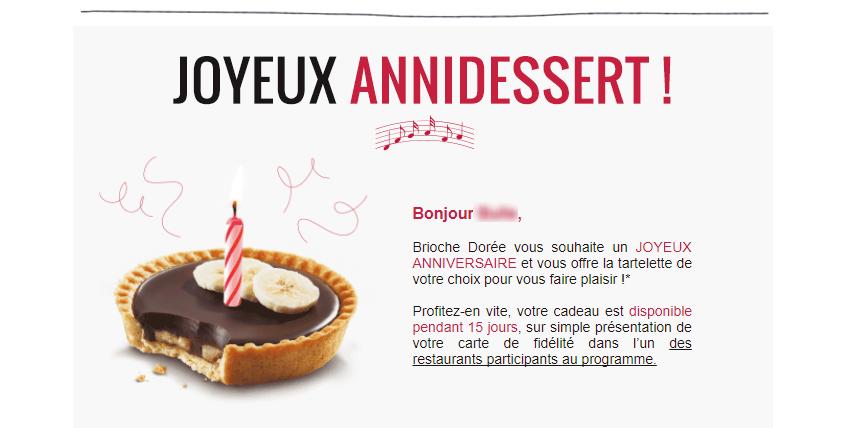 Email d'anniversaire : l'exemple de la Brioche Dorée