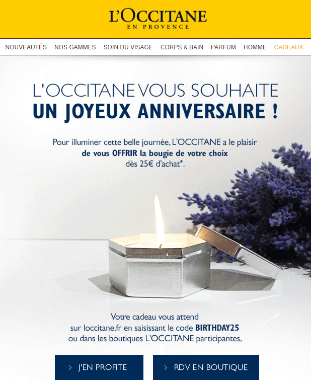 Email d'anniversaire : l'exemple de l'Occitane en Provence