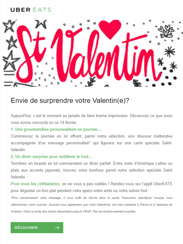 Newsletter Saint Valentin - Uber Eats
