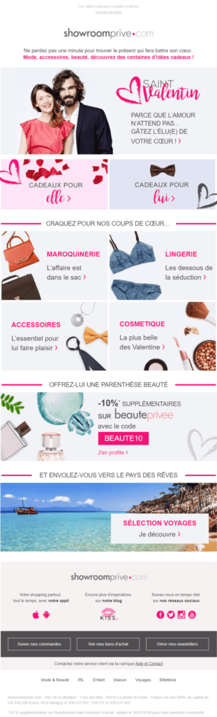 Newsletter Saint Valentin - Showroomprive