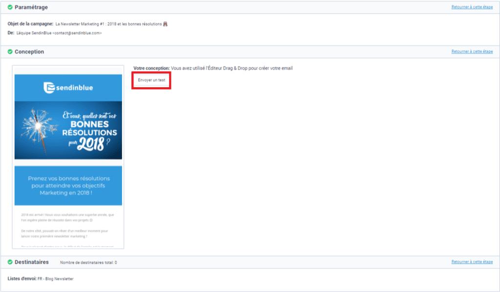 Envoi d'un email test avant confirmation